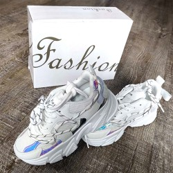 White Sneaker with Reflectors