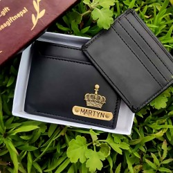 Personalized Leather Men's Wallet with Detachable Card Holder